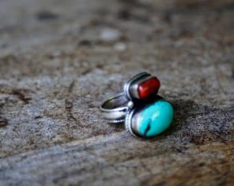 Indian turquoise and coral silver ring