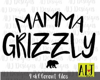 Mamma Grizzly INSTANT DOWNLOAD in dxf/svg/jpeg/png for use with programs such as Silhouette Studio and Cricut Design Space