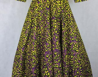 Ankara maxi dress in Purple, Yellow and Black tones, African wax maxi dress, African prom dress, Robe Africaine