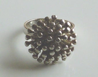 1960s Brutalist Modernist Tiffany and Co. Spiky Atomic Sterling Silver Ring Vintage Abstract