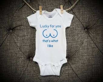 Lucky for you that's what I like, funny onesie, breastfeeding onesie, Meme onesie, normalize breastfeeding, milk onesie, breastfeeding