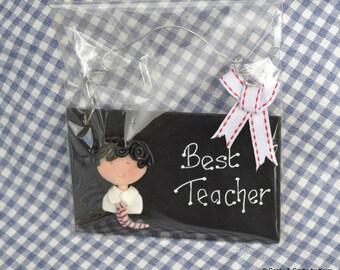 SALE~ Best Teacher Plaque with fimo pupil