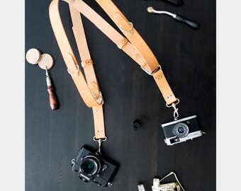 Cloverlily Hand Crafted Leather Double Camera Harness, Leather Camera Strap, Tan