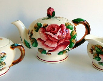 Regal Rose Teapot with Sugar & Creamer Set Handpainted Very Lovely