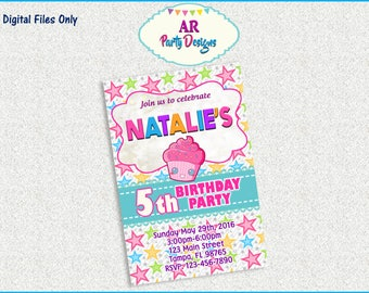 SPECIAL OFFER - Cupcake Theme Birthday Party INVITATION Digital File