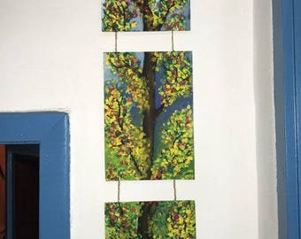 Painting made by temperament and oil painting spring tree