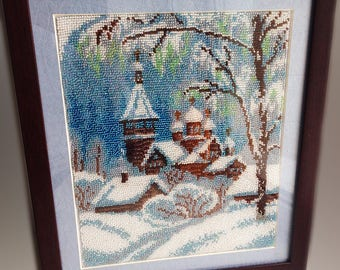 """Picture embroidered with beads """"Village""""."""