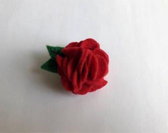 Red Felt Carnation Brooch- Flower - Pin - Handmade