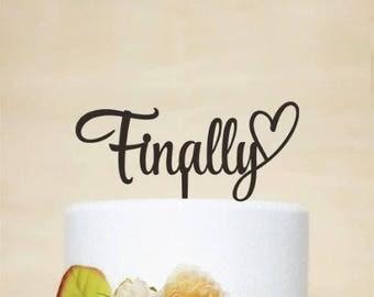 Wedding Cake Topper,Plexiglas 3 mm,white/black color, topper Finally