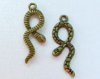 Antiqued Bronze  Snake Charms 34 x 11mm