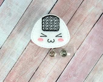 Kawaii Rice Ball Badge Reel - Kawaii Rice Ball - Feltie Badge Reel- Retractable ID Badge Holder - Badge Pull.