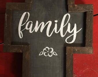 Family wooden cross Stand