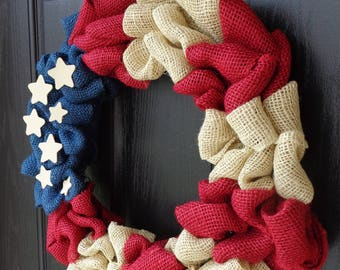 4th of July Wreath - Patriotic Wreath - American Flag Wreath - Memorial Day Wreath - Americana Decor