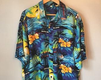 Men's XL Vintage Button-up Hawaiian Shirt 80s 90s