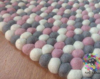 Round Felt Ball Rugs. Pink,Grey and White . 100 % wool Handmade Nepal Rug (Free Shipping)