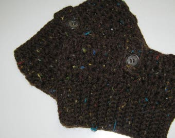 Coffee Color w/Specks Boot Cuffs Boot Toppers Leg Warmers Hand Crochet