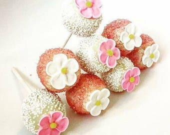 Belgian Chocolate Covered Cake Pops/Wedding Cake Pops/Wedding Favours/Birthday Cake Pops/Special Occasion Cake Pops/Edible Flower Cake Pops