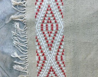 Hand woven rug, linen and silk