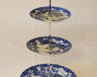 Etagere 3-piece blue white vintage style