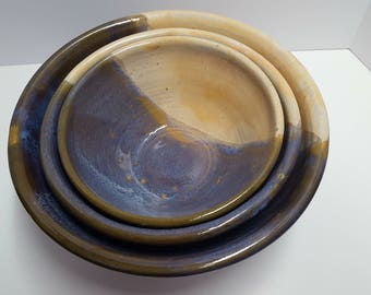 hand thrown nested serving bowls set of 3