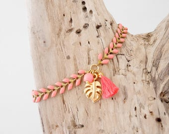 Coral enamel Golden Spike chain bracelet, charm leaf philodendron and tassel (BREP15corail)
