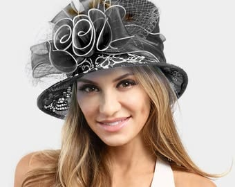 Ruffle Bow with Feather Small Brim Organza Hat