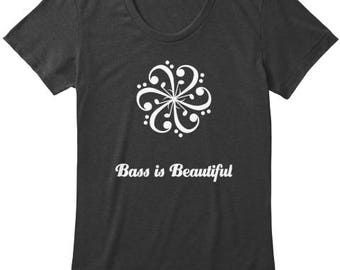 Musical Bass Clef designed T-Shirt - Bass is Beautiful