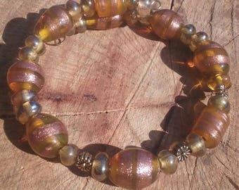 Boho hippy bracelet. Glass beads. 6 inch. Memory wire.
