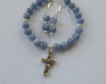 Genuine Aquamarine and Sterling Silver Cross Charm Bracelet