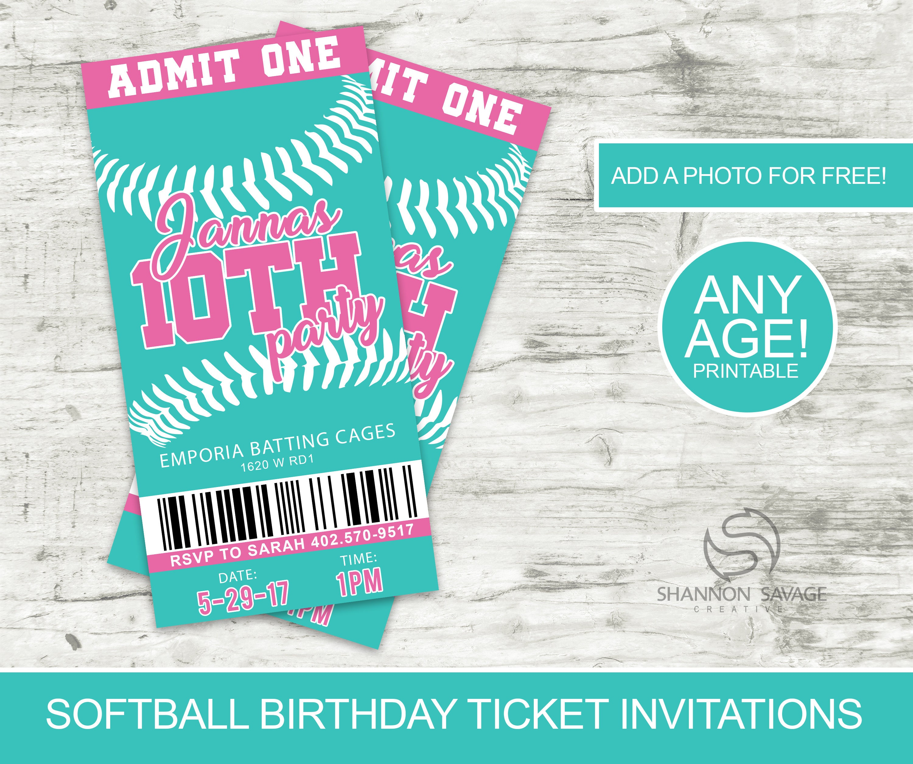 Softball Birthday Invitation Softball Birthday Party