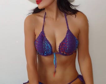 Purple handmade two-piece bikini