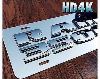 Dodge Ram 1500 Mopar Custom Mirror Chrome Finish License Plate 3D