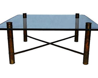 Brass Bamboo-Style Coffee Table