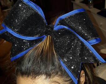 Home Made Cheer Bow, Royal Blue with Black Sparkle Metallic Glitter Ribbon