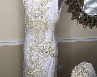 Long Rhinestone Embroidery Beads Applique Bridal Wedding Gown Applique Rhinestone Party Dress  Applique Project Accessories Trim Applique