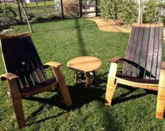 Adirondack Wine Barrel Chairs, Rustic Wine Barrel Furniture, Custom Built Wine Barrel Furniture, Napa Valley Wine Barrel Furniture, Staves