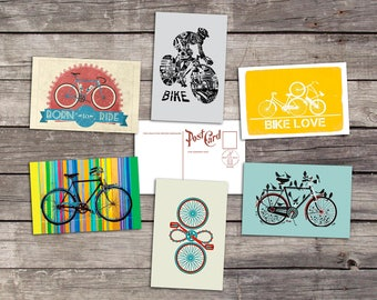 Bike set 6 postcards | bicycle art poster | cycling print | vintage bicycle gift | cyclist illustration  | PaperBunnyShop