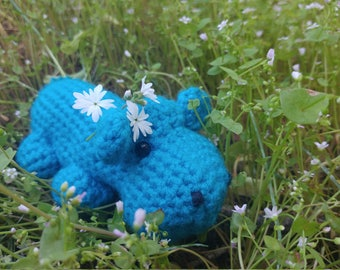Light Blue Turquoise Crocheted Amigurumi Hippo