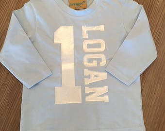 Baby/Toddler/Kids Personalised Name and Age Long Sleeved T Shirt