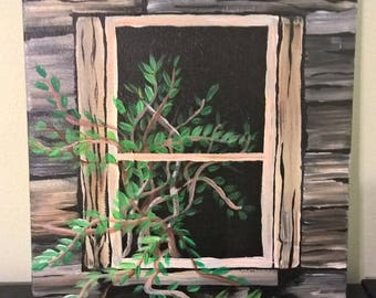 Wooden Window Painting