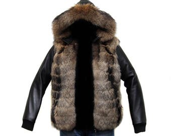 """Men's jacket """"pilot"""" raccoon fur, leather,  size M"""