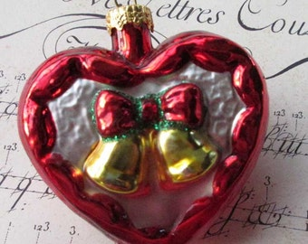 Vintage Germany Christmas Ornament Heart With Bells Blown Glass Ornament Box B