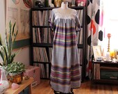 vintage 1970s oaxacan embroidered woven caftan dress . gray 70s souvenir hippie dress