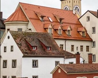 Regensburg Germany Photo on Canvas, Old World Architecture,  Europe Travel Photography,  Large Wall Decor