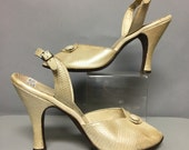 Pearlized LEATHER 50s SLINGBACKS / Vintage 1950's High Heel STILLETO Shoes / size 7 1/2