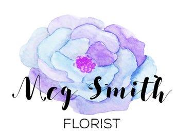 Premade watercolor flower  logo design