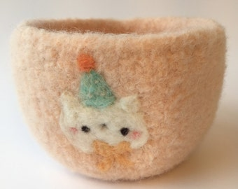 Party Kitty Felted Wool Bowl