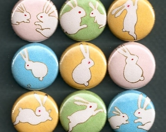 One Inch Magnet Set - Origami Paper Bunny Rabbit Print