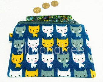 Kawaii Cat, blue, cute coin zip purse, not padded, wallet id20170206, cardholder, jogging accessory, card case, bag organzier