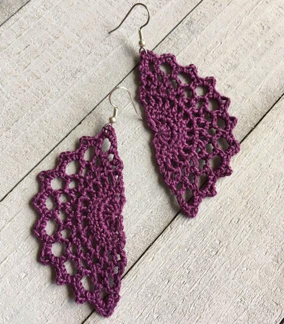 Purple Lace Crochet Earrings - Boho Dangle Statement Earrings - Fall Fashion Accessory - Gift for Her, Bohemian Long Earrings